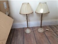 Pair of shabby chic tall lamps