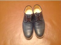 Mens shaded blue leather shoes