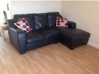 Sold ** Black Leather L Shape 3 Seater Sofa Chaise ** Sold