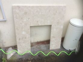 White/grey marble effect hearth surround in gooSize91cmx91cm,3ftx3ft.Inner42cmx57cm,161/2inx221/2in.