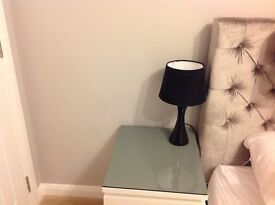 2x black second hand table lamps