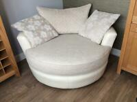 DFS Large Round Leather Cuddle Chair
