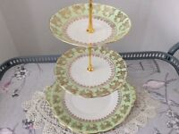 Roslyn Bone China 3 Tier Cake Stand. Green & Gold.