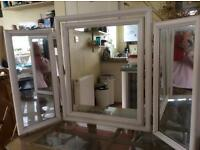 Triple mirror in white frame for dressing table, chest