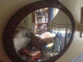 Large Georgian Oval Mirror 19th C