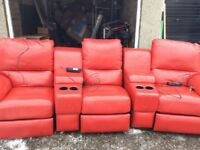 3 seater cinema sofa with electric recliner chairs