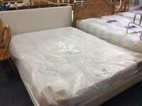 5ft white faux leather king size frame #42355 NEW 5ft Mattress #41752 £150
