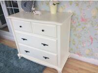 Solid large ornate cream dresser