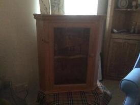 Pine wall corner cabinet