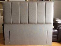 Beautiful Quality floor Stand Double Headboard Dove Grey