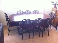 8 Seater Mahogany Coloured Dining Table and Chairs