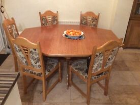 Rustic oak dining table & 5 chairs