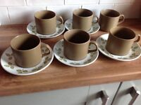 Lovely retro J&G Meakin tulip time cups and saucers