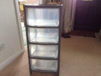 Plastic storage drawers