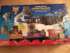Toy Story 2 interactive talking train set very rare collectors item works!