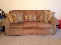 Three Seater Sofa with Silk Scatter Cushions, mink colour, very good condition