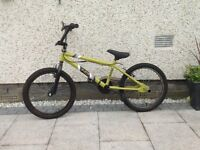 Indi Katapult BMX Bike with chrome coloured stunt pegs fitted to the rear