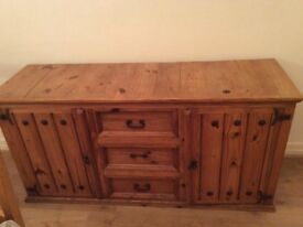 Large Pine Sideboard perfect for home/kitchen storage: Very good condition
