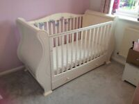 Tutti bambini cotbed, white, immaculate condition, converts to toddler bed