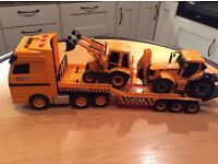 Large JCB transporter truck with 2 diggers