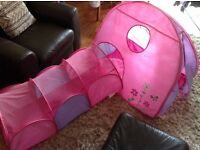 Pink play tent and tunnel