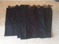 4 x Ladies Dress Trousers all black. Ladies size 10-12 short leg.