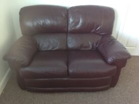 Three seater and two seater leather suite - Burgundy
