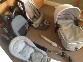 Concord neo travel system, folding carrycot, pushchair seat, parasols, changing bag j