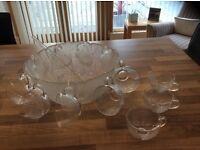 Glass punch bowl with 12 glasses