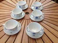Royal Doulton China - set of 6 coffee cups & saucers