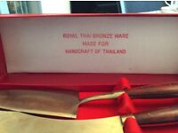 Royal Thai Bronze Ware Cake Serving Set
