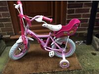 Pink girls bike suitable for ages 2-5 years