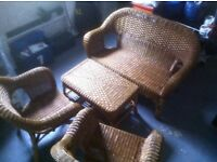 4 Piece Wicker Conservatory Set including Fitted Seat Pads and Matching Cushions