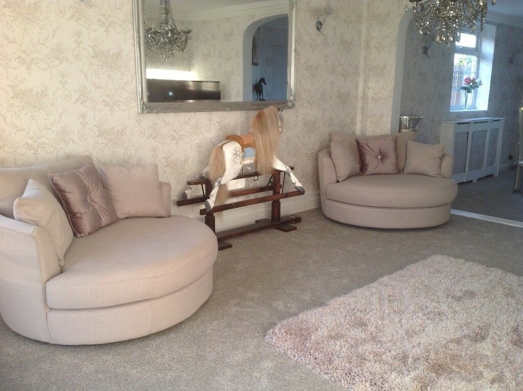 Two Beautiful Lilac Grey Sofas Or Love Chairs Immaculate And Hardly Used