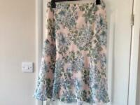 New M&S Classic Pink Green Floral Pull On Skirt 16