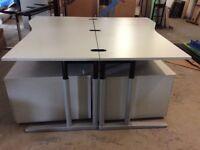 Two Grey Rectangke Desks & Pedestals