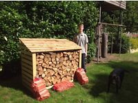 Handmade Traditional Logstore Starter kit filled with logs and kindling