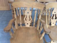 Pine table. With 6 chairs 5ft +3ft in very good condition