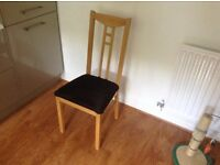 4 IKEA CHAIRS WITH BLACK PADDED FAUX SUEDE SEATS EASY TO CHANGE IF REQUIRED £20