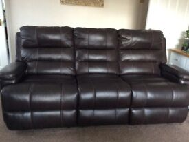 Leather 3 seater manual recliner sofa