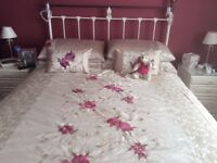 King size bed with 2 drawers + wrought iron headboard