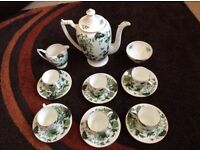 Coalport Bone China Coffee set Cathay Pattern. Exotic Bird and Butterfly in Shades of Green.