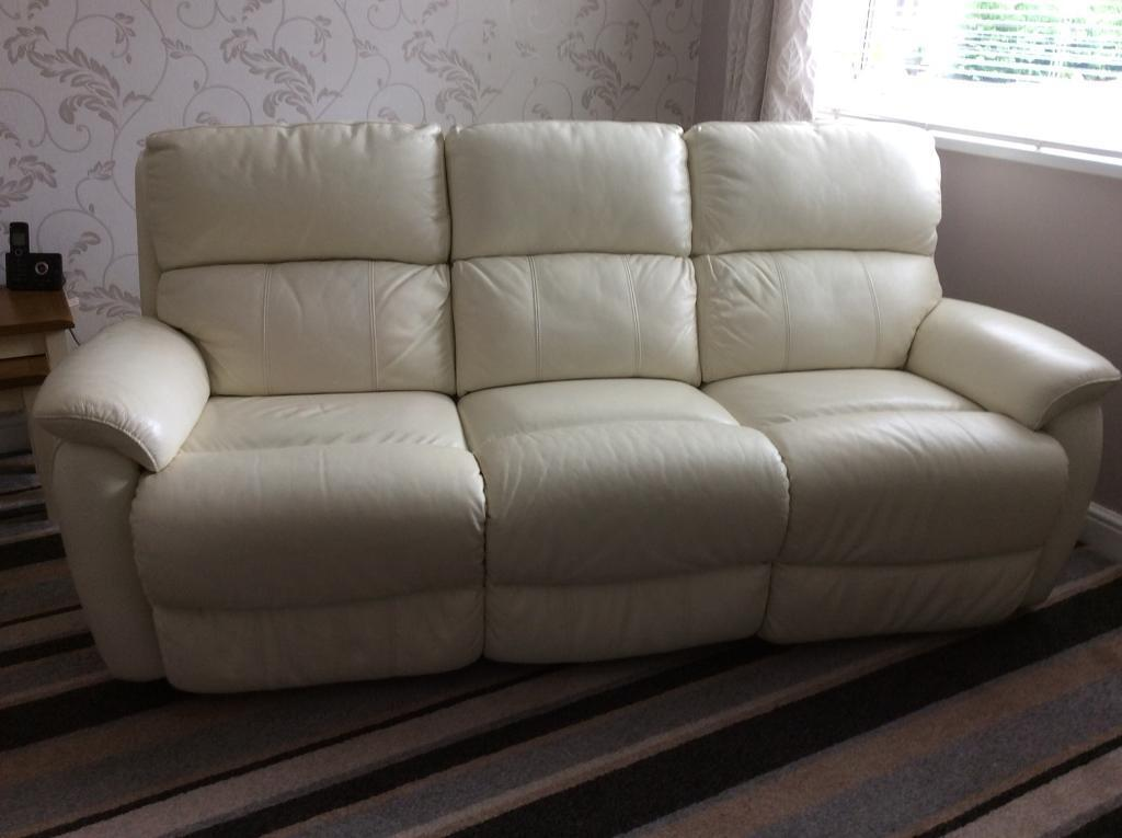 Dfs Cream Leather Reclining Sofa Electric Recliner Chair