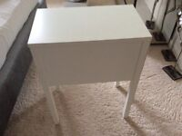 White rectangle side table with a drawer