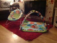 Baby play mat and bouncing chair