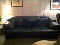 Blue leather Italian sofa and two chairs