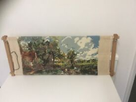Wooden tapestry or cross stitch frame along with a box of wools