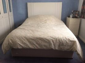 King Size divan with 2 storage drawers, luxury mattress and padded headboard