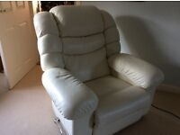 Lazyboy reclining armchair in cream leather