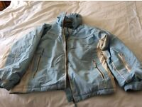 Ladies size 8 / girls age 13/14 158 - 164 light blue and cream ski jacket good condition